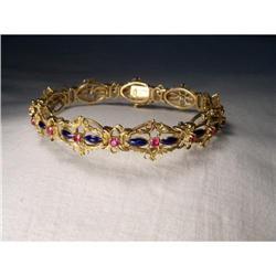 Estate 18K YG Gold Enamel Ruby Filigree Bangle #2394663