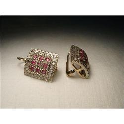 18K Pink Gold Rose Cut Diamond Ruby Earrings #2394664
