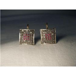 18K Pink Gold Rose Cut Diamond Ruby Earrings #2394665