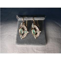 18K Pink Gold Rose Cut Diamond Emerald Earrings#2394666
