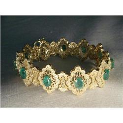 14K YG Gold Emerald Diamond Filigree Bracelet #2394667