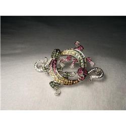 14K WG Diamond Sapphire Tsavorite Lizards Pin #2394670