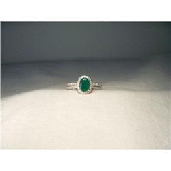 14K WG Gold Emerald Pave Diamond Filigree Ring #2394673