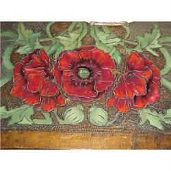 Pyrographic table covered in red poppies #2394677