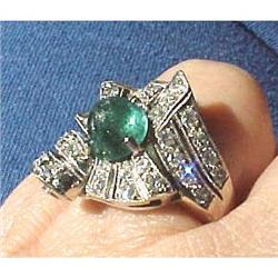 Retro diamond & emerald ladies ring #2394678