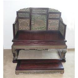 Vintage Chinese Rosewood Green Zitan Throne #2394896