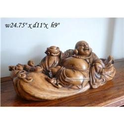 Vintage HuangHuaLi Wood Carved Happy Buddha #2394897