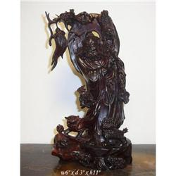 Chinese Zitan Bodhidharma with Lions Statue  #2394904
