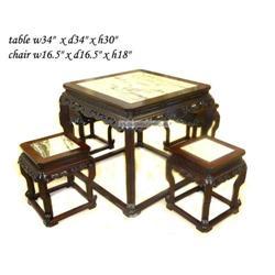 Vintage Rosewood Marble Ru-Yi Apron Table Set #2394905
