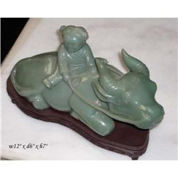 Vintage Chinese Kid Riding Cow Jade Statue  #2394913
