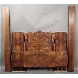 Italian Art Deco burl walnut bed #2394916