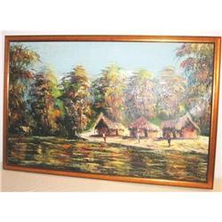 West Africa Painting Village scene of Kasai #2394924