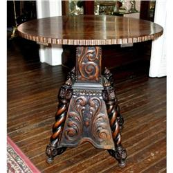 Antique Italian Carved walnut wood table   #2394932