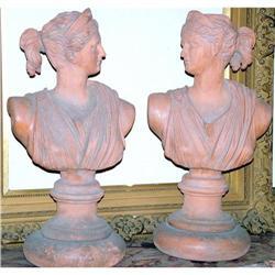 PAIR Italian neo classical sculpture  bust  #2394934