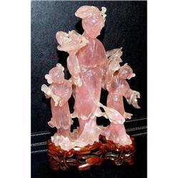 Japanese Rose Quartz stone carved sculpture #2394935