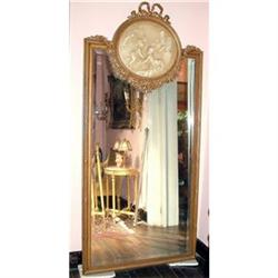 PAIR Large French wall mirror carved gilt cameo#2394938