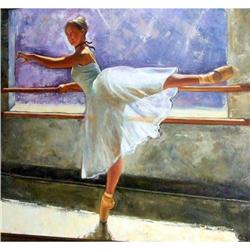 Ballet Dancer  practicing at the bar painting  #2394995