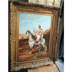Sheikh horse painting gilt wood frame arabian #2394996