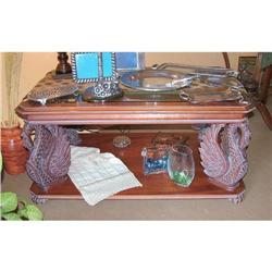 Swan carved wood Coffee  table  #2394997