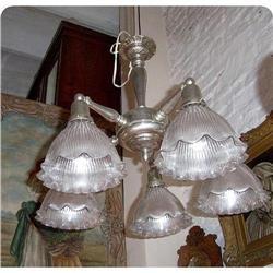 Art Deco Chandelier 5 lights original shades #2395002