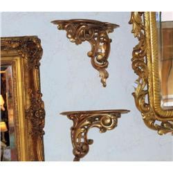 PAIR  small antique gilt carved wood  stand  #2395007