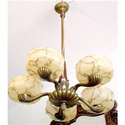 Art  Nouveau 5L chandelier  #2395018