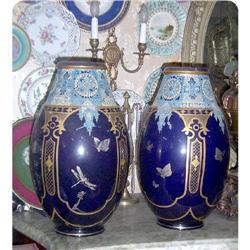 Pair of Large  Sarreguemine Vases  Urns #2395022