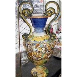 large Italian Ceramic Majolica vase signed  #2395023