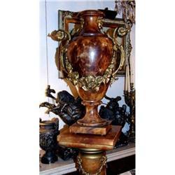 Italian Marble Bronze vase Urn pedestal stand #2395029