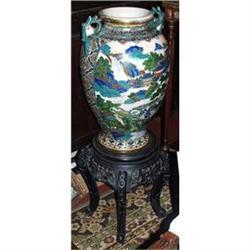 Large signed Satsuma  urn on hard wood stand  #2395032