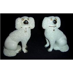 Pair of Antique Staffordshire Poodles #2395097