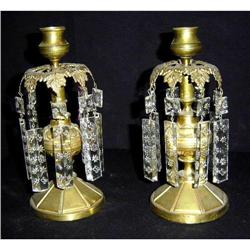 Pair of Antique Bronze and Crystal Candlesticks#2395111