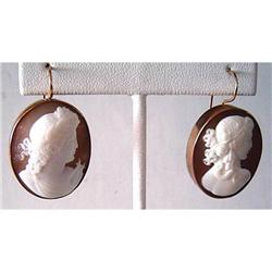 Pair of Antique Shell Cameo Earrings #2395128