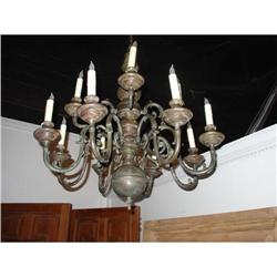 Polychromed Wood and Iron 12 Arm Chandelier #2395140
