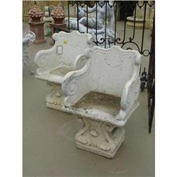 French Pair of Cast Stone Seats (Provence) (2 #2395154