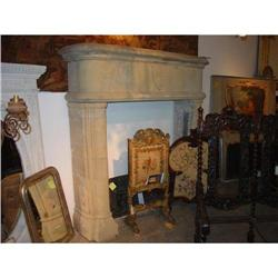 Gothic Limestone Fireplace Mantel from France #2395158