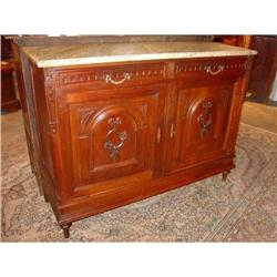 Louis XVI Style Walnut Buffet with Marble Top #2395169