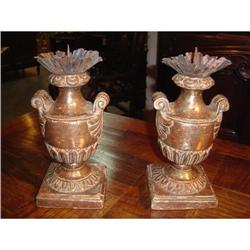 Silver Leafed Wooden Italian Candlesticks #2395172