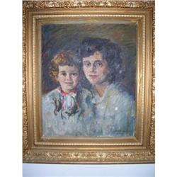Oskar  Stoessel mother and daughter on canvas #2395182