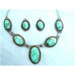 Nevada Blue Turquoise Necklace and Earring Set #2395187