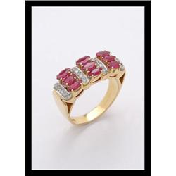 RUBY AND DIAMONDS RING , YELLOW GOLD. #2365493