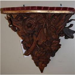 Antique Italian Leather Flowers Sconce Shelf, #2365496