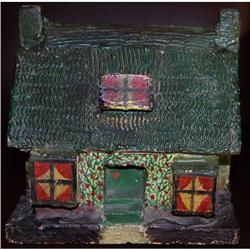 Antique French Polychrome Painted Cottage Bank,#2365498