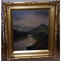 Antique Oil on Canvas Mountain Lake Landscape, #2365499