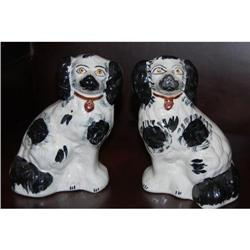 Pair Antiques Black & White Staffordshire Dogs,#2365500