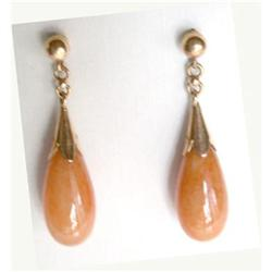 14K Apricot Color Jadeite Earrings #2365507