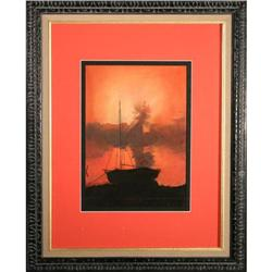 Contemporary Seascape Docked at Shore-Brown #2365515