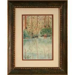 Reflections landscape lake watercolor Widmeyer #2365520