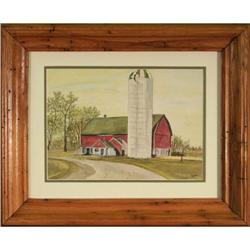Barn Silo farm landscape watercolor Griffiths #2365523