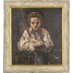Girl with a Broom-  Oil on Panel #2365526